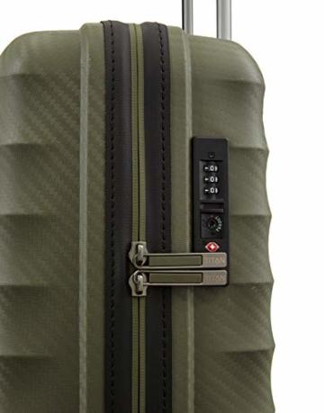 TITAN 4-Rad Handgepäck Koffer mit TSA Schloss, erfüllt IATA-Bordgepäckmaß, Gepäck Serie HIGHLIGHT: Leichte Hartschalen Trolleys im Carbon Look, 842406-86, 55 cm, 38 Liter, khaki (grün) - 3