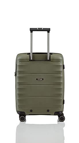 TITAN 4-Rad Handgepäck Koffer mit TSA Schloss, erfüllt IATA-Bordgepäckmaß, Gepäck Serie HIGHLIGHT: Leichte Hartschalen Trolleys im Carbon Look, 842406-86, 55 cm, 38 Liter, khaki (grün) - 4