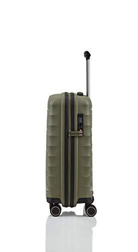 TITAN 4-Rad Handgepäck Koffer mit TSA Schloss, erfüllt IATA-Bordgepäckmaß, Gepäck Serie HIGHLIGHT: Leichte Hartschalen Trolleys im Carbon Look, 842406-86, 55 cm, 38 Liter, khaki (grün) - 7