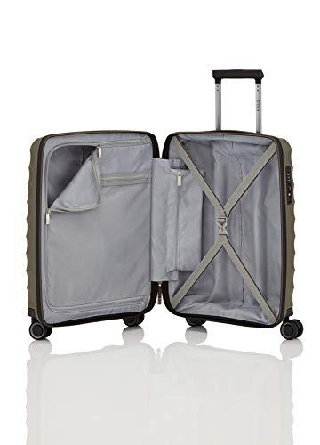 TITAN 4-Rad Handgepäck Koffer mit TSA Schloss, erfüllt IATA-Bordgepäckmaß, Gepäck Serie HIGHLIGHT: Leichte Hartschalen Trolleys im Carbon Look, 842406-86, 55 cm, 38 Liter, khaki (grün) - 8