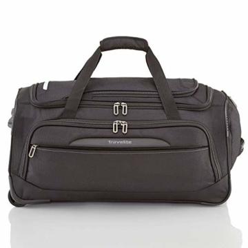 travelite Trolley Reisetasche Größe M, Gepäck Serie CROSSLITE: Robuste Weichgepäck Reisetasche mit Rollen im Business Look, 089502-01, 69 cm, 82 Liter, schwarz - 2