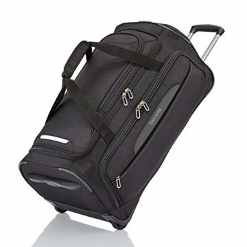 travelite Trolley Reisetasche Größe M, Gepäck Serie CROSSLITE: Robuste Weichgepäck Reisetasche mit Rollen im Business Look, 089502-01, 69 cm, 82 Liter, schwarz - 1