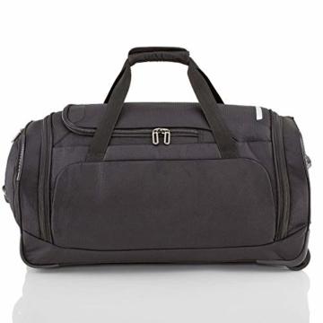travelite Trolley Reisetasche Größe M, Gepäck Serie CROSSLITE: Robuste Weichgepäck Reisetasche mit Rollen im Business Look, 089502-01, 69 cm, 82 Liter, schwarz - 5