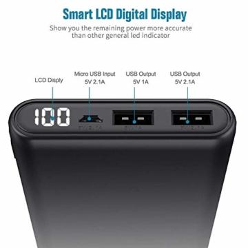 Trswyop Powerbank 25800mAh 【Verbesserte Version LCD Digital Display 100%-0】Hoher Kapazität Power Bank Externer Akku mit 2 USB Output Schnellladung Akku Pack für Smartphones, Tablets und andere Geräte - 6