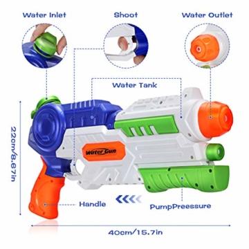 Ucradle 2 × Wasserpistole, Wasserpistolen groß 1.2L mit 11 Meter Reichweite für Kinder und Erwachsene, Water Gun Blaster Spielzeug für Sommerpartys im Freien, Strand, Pool, Garten Strandspielzeug - 2