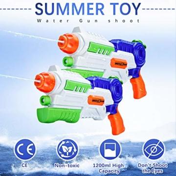 Ucradle 2 × Wasserpistole, Wasserpistolen groß 1.2L mit 11 Meter Reichweite für Kinder und Erwachsene, Water Gun Blaster Spielzeug für Sommerpartys im Freien, Strand, Pool, Garten Strandspielzeug - 4