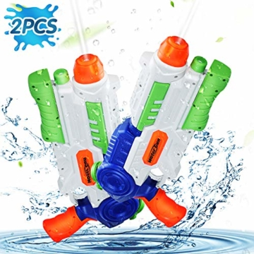 Ucradle 2 × Wasserpistole, Wasserpistolen groß 1.2L mit 11 Meter Reichweite für Kinder und Erwachsene, Water Gun Blaster Spielzeug für Sommerpartys im Freien, Strand, Pool, Garten Strandspielzeug - 1