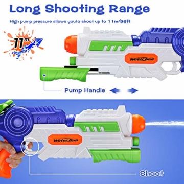 Ucradle 2 × Wasserpistole, Wasserpistolen groß 1.2L mit 11 Meter Reichweite für Kinder und Erwachsene, Water Gun Blaster Spielzeug für Sommerpartys im Freien, Strand, Pool, Garten Strandspielzeug - 6