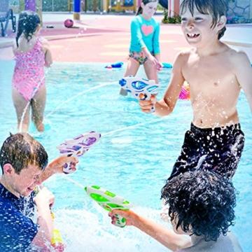Ucradle Wasserpistole, 3pcs Kinder Wasserpistolen Kleine Spritzpistole Wasser Water Gun Cool Pool Spielzeug Kinder, Party Mitgebsel Strand Badespielzeug Strandspielzeug (blau/grün/lila) - 2