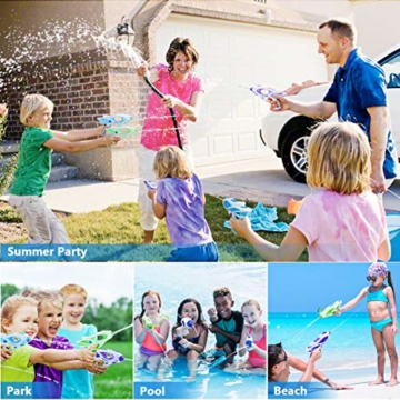 Ucradle Wasserpistole, 3pcs Kinder Wasserpistolen Kleine Spritzpistole Wasser Water Gun Cool Pool Spielzeug Kinder, Party Mitgebsel Strand Badespielzeug Strandspielzeug (blau/grün/lila) - 3