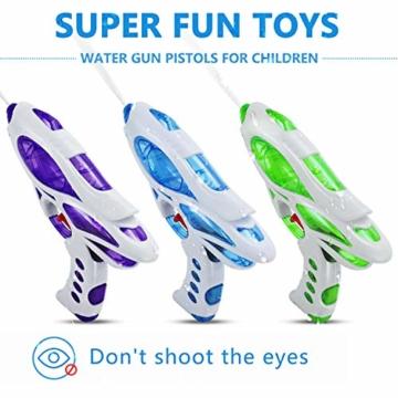 Ucradle Wasserpistole, 3pcs Kinder Wasserpistolen Kleine Spritzpistole Wasser Water Gun Cool Pool Spielzeug Kinder, Party Mitgebsel Strand Badespielzeug Strandspielzeug (blau/grün/lila) - 4