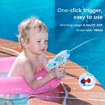 Ucradle Wasserpistole, 3pcs Kinder Wasserpistolen Kleine Spritzpistole Wasser Water Gun Cool Pool Spielzeug Kinder, Party Mitgebsel Strand Badespielzeug Strandspielzeug (blau/grün/lila) - 6