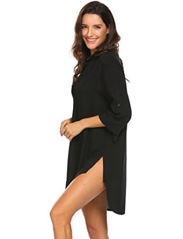 Unibelle Damen Strandkleid Hemdkleid Kleidung Strand Hemdkleid V-Ausschnitt Rock Sommer Cuffed Sleeve Shirts Tops - 2