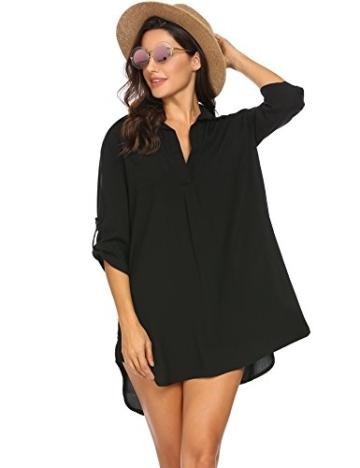 Unibelle Damen Strandkleid Hemdkleid Kleidung Strand Hemdkleid V-Ausschnitt Rock Sommer Cuffed Sleeve Shirts Tops - 3