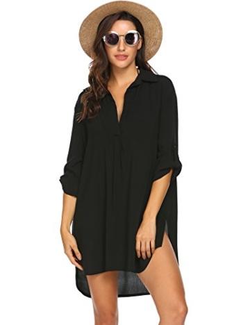Unibelle Damen Strandkleid Hemdkleid Kleidung Strand Hemdkleid V-Ausschnitt Rock Sommer Cuffed Sleeve Shirts Tops - 1
