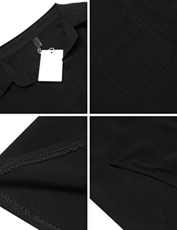 Unibelle Damen Strandkleid Hemdkleid Kleidung Strand Hemdkleid V-Ausschnitt Rock Sommer Cuffed Sleeve Shirts Tops - 5