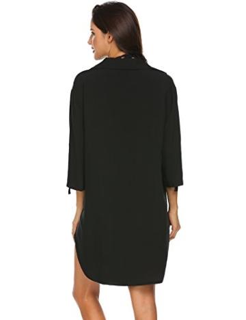 Unibelle Damen Strandkleid Hemdkleid Kleidung Strand Hemdkleid V-Ausschnitt Rock Sommer Cuffed Sleeve Shirts Tops - 6