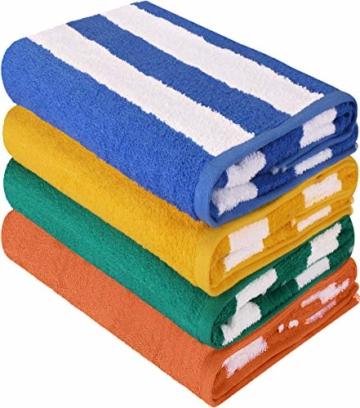 Utopia Towels - 4er Pack XXL Strandtuch Baumwolle Cabana Stripe - 76 x 152 cm, Varietät Pack - 1