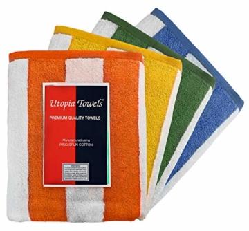 Utopia Towels - 4er Pack XXL Strandtuch Baumwolle Cabana Stripe - 76 x 152 cm, Varietät Pack - 5