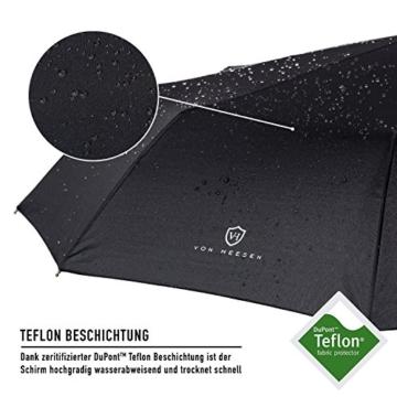 VON HEESEN Regenschirm sturmfest bis 140 km/h - inkl. Schirm-Tasche & Reise-Etui - Taschenschirm mit Auf-Zu-Automatik, klein, leicht & kompakt, Teflon-Beschichtung, windsicher, stabil (Schwarz) - 2