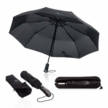 VON HEESEN Regenschirm sturmfest bis 140 km/h - inkl. Schirm-Tasche & Reise-Etui - Taschenschirm mit Auf-Zu-Automatik, klein, leicht & kompakt, Teflon-Beschichtung, windsicher, stabil (Schwarz) - 1
