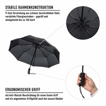 VON HEESEN Regenschirm sturmfest bis 140 km/h - inkl. Schirm-Tasche & Reise-Etui - Taschenschirm mit Auf-Zu-Automatik, klein, leicht & kompakt, Teflon-Beschichtung, windsicher, stabil (Schwarz) - 7