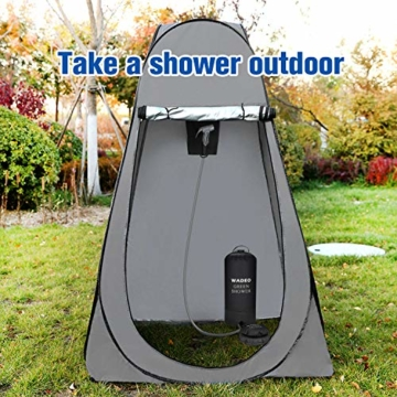 WADEO Campingdusche mit Pumpe, Druckdusche Dusche Tasche Reisedusche 15 Liter mit Duschkopf tragbare und Abnehmbarem Schlauch Duschen Beutel Shower für Wandern, im Freien, Klettern (Schwarz) - 3