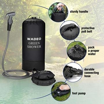 WADEO Campingdusche mit Pumpe, Druckdusche Dusche Tasche Reisedusche 15 Liter mit Duschkopf tragbare und Abnehmbarem Schlauch Duschen Beutel Shower für Wandern, im Freien, Klettern (Schwarz) - 4
