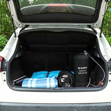 WADEO Campingdusche mit Pumpe, Druckdusche Dusche Tasche Reisedusche 15 Liter mit Duschkopf tragbare und Abnehmbarem Schlauch Duschen Beutel Shower für Wandern, im Freien, Klettern (Schwarz) - 6