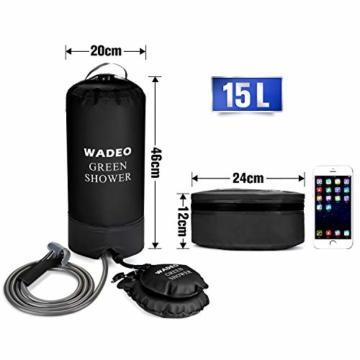 WADEO Campingdusche mit Pumpe, Druckdusche Dusche Tasche Reisedusche 15 Liter mit Duschkopf tragbare und Abnehmbarem Schlauch Duschen Beutel Shower für Wandern, im Freien, Klettern (Schwarz) - 7