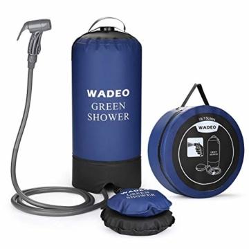 WADEO Outdoor Camping Dusche 11L Tragbare Druckduschtasch, Faltbar Tragbare Druck-Campingdusche mit Fußpumpe, Düse, Aufbewahrungstasche, für Reisen Wandern Klettern Sommer Baden - 1
