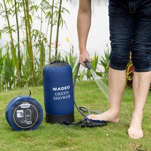 WADEO Outdoor Camping Dusche 11L Tragbare Druckduschtasch, Faltbar Tragbare Druck-Campingdusche mit Fußpumpe, Düse, Aufbewahrungstasche, für Reisen Wandern Klettern Sommer Baden - 5