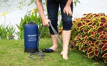 WADEO Outdoor Camping Dusche 11L Tragbare Druckduschtasch, Faltbar Tragbare Druck-Campingdusche mit Fußpumpe, Düse, Aufbewahrungstasche, für Reisen Wandern Klettern Sommer Baden - 7
