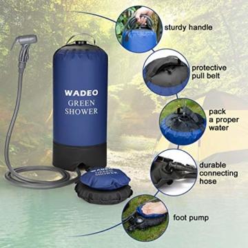 WADEO Outdoor Camping Dusche 11L Tragbare Druckduschtasch, Faltbar Tragbare Druck-Campingdusche mit Fußpumpe, Düse, Aufbewahrungstasche, für Reisen Wandern Klettern Sommer Baden - 9