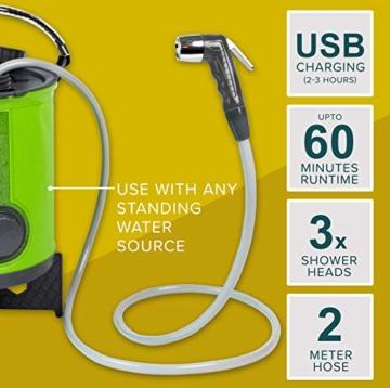 Wiederaufladbare Campingdusche von Colapz – Tragbare Dusche für Hunde – Jet-Wäsche für Fahrräder – Ein Duschkopf, eine Wasserstrahldüse – Transporttasche mit inbegriffen - 6