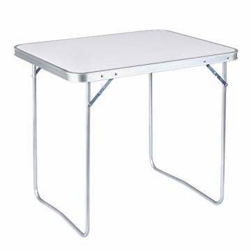 WOLTU CPT8128sg Campingtisch Klapptisch 80 x 60,5 x 70 cm Klappbar Gartentisch aus Alu und MDF für Picknick Strand im Freien, Weiß - 2