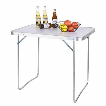 WOLTU CPT8128sg Campingtisch Klapptisch 80 x 60,5 x 70 cm Klappbar Gartentisch aus Alu und MDF für Picknick Strand im Freien, Weiß - 4
