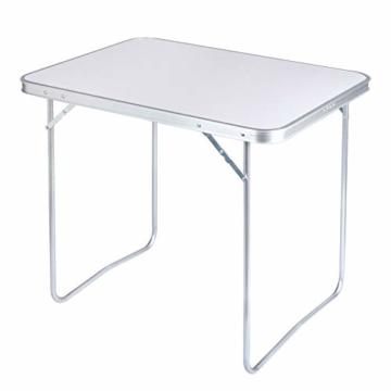 WOLTU CPT8128sg Campingtisch Klapptisch 80 x 60,5 x 70 cm Klappbar Gartentisch aus Alu und MDF für Picknick Strand im Freien, Weiß - 1