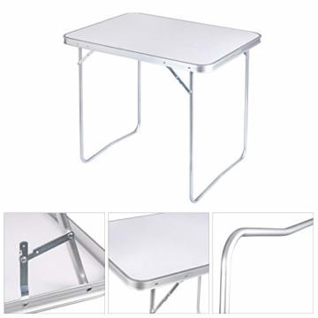 WOLTU CPT8128sg Campingtisch Klapptisch 80 x 60,5 x 70 cm Klappbar Gartentisch aus Alu und MDF für Picknick Strand im Freien, Weiß - 5