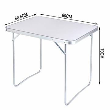 WOLTU CPT8128sg Campingtisch Klapptisch 80 x 60,5 x 70 cm Klappbar Gartentisch aus Alu und MDF für Picknick Strand im Freien, Weiß - 6
