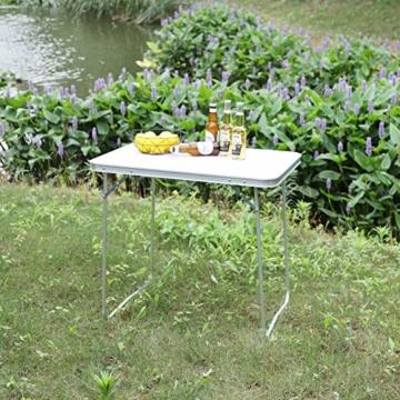 WOLTU CPT8128sg Campingtisch Klapptisch 80 x 60,5 x 70 cm Klappbar Gartentisch aus Alu und MDF für Picknick Strand im Freien, Weiß - 7