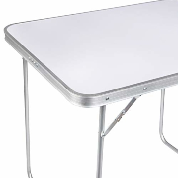WOLTU CPT8128sg Campingtisch Klapptisch 80 x 60,5 x 70 cm Klappbar Gartentisch aus Alu und MDF für Picknick Strand im Freien, Weiß - 8