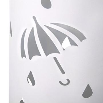 Woltu Schirmständer Regenschirmständer Schirmhalter für Gehstöcke Mit Wasserauffangschale Haken Ø20 x H49 cm Weiß SST01ws - 3