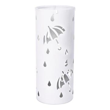 Woltu Schirmständer Regenschirmständer Schirmhalter für Gehstöcke Mit Wasserauffangschale Haken Ø20 x H49 cm Weiß SST01ws - 1