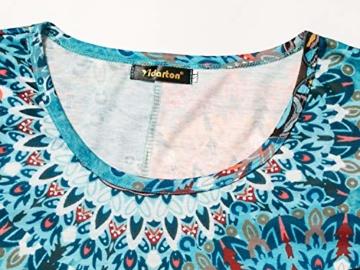Yidarton Sommerkleid Damen Casual Lose Kurzarm T-Shirt Kleider Elegant Boho Blumen Strand Kleider mit Taschen(or,l) - 2