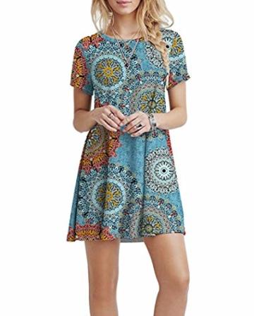 Yidarton Sommerkleid Damen Casual Lose Kurzarm T-Shirt Kleider Elegant Boho Blumen Strand Kleider mit Taschen(or,l) - 4