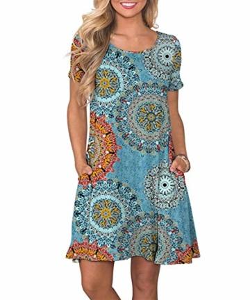 Yidarton Sommerkleid Damen Casual Lose Kurzarm T-Shirt Kleider Elegant Boho Blumen Strand Kleider mit Taschen(or,l) - 1