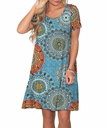 Yidarton Sommerkleid Damen Casual Lose Kurzarm T-Shirt Kleider Elegant Boho Blumen Strand Kleider mit Taschen(or,l) - 5