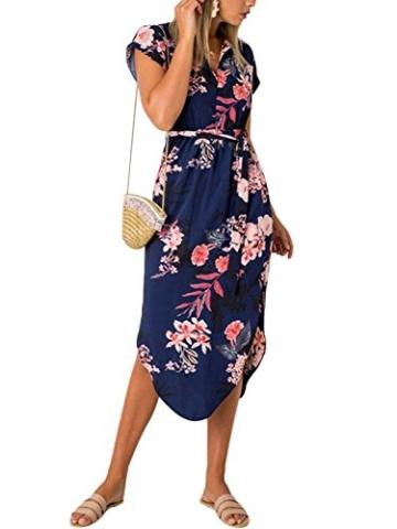 YOINS Damen Sommerkleid Lang V-Ausschnitt Maxikleider Strandkleid Strandmode, Dunkelblau, Gr.- EU 40-42/ Herstellergröße- M - 2