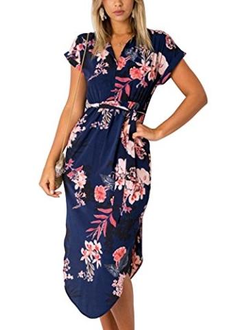 YOINS Damen Sommerkleid Lang V-Ausschnitt Maxikleider Strandkleid Strandmode, Dunkelblau, Gr.- EU 40-42/ Herstellergröße- M - 3